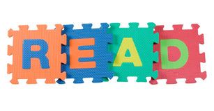 Read. Alphabet blocks forming the word READ isolated on white background royalty free stock images