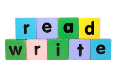 Read And Write In Toy Blocks Royalty Free Stock Photography