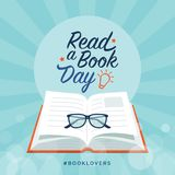 Read a book day. Social media post and card design with open book and glasses royalty free illustration