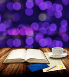 Read book and drink hot coffee for write letter Stock Photography
