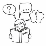Read a book, get information, questions, answers, thoughts, outline drawing. Stock Images