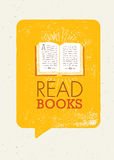 Read Books Motivation Banner Concept With Book Illustration On Rusty Speech Bubble Background Stock Photos