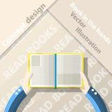 Read books. Open book in hands. Flat design Stock Photo
