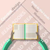Read books. Open book in hands. Flat design Stock Photography