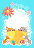 We read books. Greeting card fox and wolf fairy tales textbook are reading books. Around the flowers bloom and the butterflies fly. Fairy-tale world Stock Photo