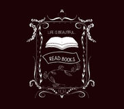 Read books Vintage frames and Floral Ornaments Stock Photography