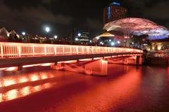 Read Bridge Clarke Quay Singapore at night Stock Photo