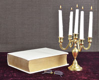 Read by Candle Light royalty free stock image