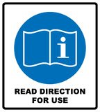 Read direction for use icon. Refer to instruction manual booklet mandatory sign, General mandatory action sign. Vector illustratio. N isolated on white royalty free illustration