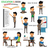 Read and Education infographics elements. Activities in reading Royalty Free Stock Photo