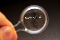 Read the fine print Stock Image