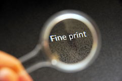 Read fine print Royalty Free Stock Photo