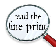 Read the Fine Print Magnifying Glass Words Royalty Free Stock Images