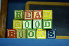 Read Good Books. Children's play blocks spell out the words Read Good Books stock photo