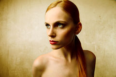 Read haired beauty Stock Photos