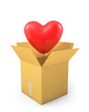 Read heart fly out of carton box Stock Photography