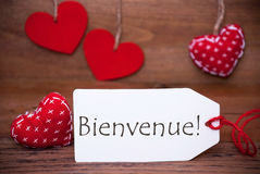Read Hearts, Label, Bienvenue Means Welcome Stock Images