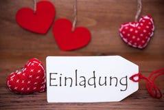 Read Hearts, Label, Einladung Means Invitation Stock Photos