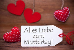 Read Hearts, Label, Liebe Zum Muttertag Means Happy Mothers Day Royalty Free Stock Photo