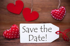 Read Hearts, Label, Text Save The Date Stock Photography