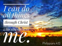 I can do all things through Christ who strengthens me. Read inspirational Bible verses and quotes that will encourage and uplift you royalty free stock photos