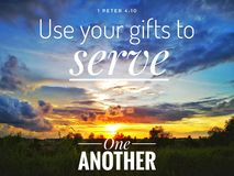 Use your gift to serve one another with background sunset design for Christianity. Read inspirational Bible verses and quotes that will encourage and uplift you royalty free stock image