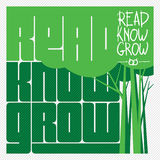 Read Know Grow Concept Vector. Text background on education theme Stock Photo