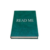 Read me. Manual book with green cover isolated Royalty Free Stock Photos