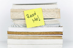 Read Me. Note books stack stock images