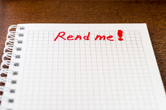 Read me sign in the notebook Royalty Free Stock Image
