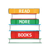 Read More Books. A stack of hardback books with the phrase Read More Books added in white text on the spines as a metaphor for education and gaining knowledge Stock Image
