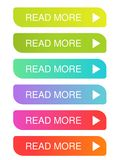 Read more buttons with arrow - colorful labels on the white background. Usable for a link, continue, read more or next. Stock Photos