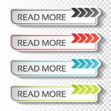 Read more buttons with arrow pointer. Black, blue, red and green labels. Stickers with shadow on transparent background for busine. Ss, information page, menu royalty free illustration