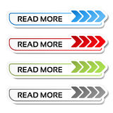 Read more buttons with arrows - labels on the white background. Illustration Stock Photo