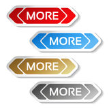Read more buttons with arrows - labels on the white background. Illustration Stock Photos
