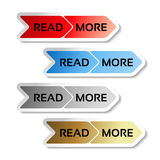 Read more buttons with arrows - labels on the white background Royalty Free Stock Photos