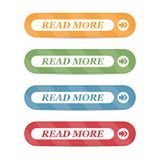 Read More colorful button set on white background. Flat line button collection.  Stock Images