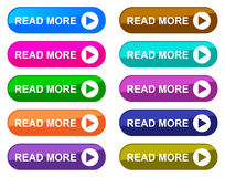 Read more. Colorful collection of read more buttons Stock Photography