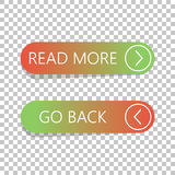 Read More and Go Back button set on  background Stock Image