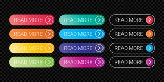 Read More web button flat design template color gradient outline vector style Royalty Free Stock Image