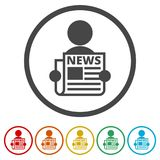 Read newspaper logo vector icon, 6 Colors Included. Simple vector icons set Stock Photo