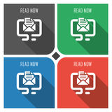 Read now message flat vector icon on colorful background. simple PC web icons eps8. Royalty Free Stock Images