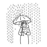 Read and rain. Black and white illustration of a girl with an umbrella  reading in the rain Stock Images