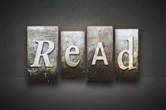 Read Theme Letterpress. The word READ written in vintage letterpress type Stock Photography