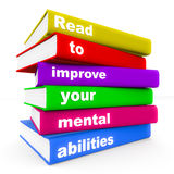 Read to improve mental ability. Words read to improve your mental abilities on different books in vivid color, white background, concept of the use of book Stock Photos