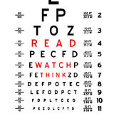 Read Watch Think. Abstract eye chart background design isolated on white Vector Illustration