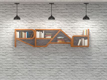 Read word bookcase on brick wall with ceiling lamps. Wood read word shape of bookcase on white brick wall with three ceiling lamps and white light Royalty Free Stock Photography