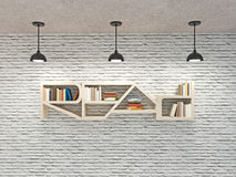 Read word bookcase on brick wall with ceiling lamps Stock Photos