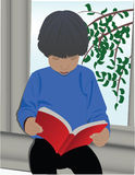 The reader. The boy, sitting on the window and to read books Royalty Free Stock Photo