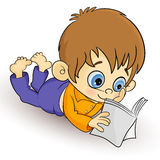 Reader. A little boy amused to reading a book royalty free illustration